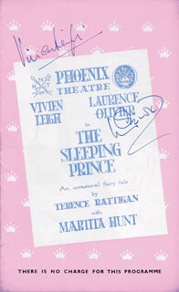 SLEEPING PRINCE PLAY CAST - PROGRAM SIGNED 11/05/1953 CO-SIGNED BY: VIVIEN LEIGH, LAURENCE OLIVIER