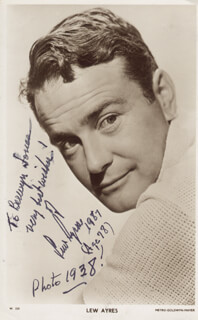 LEW AYRES - INSCRIBED PICTURE POSTCARD SIGNED 1987