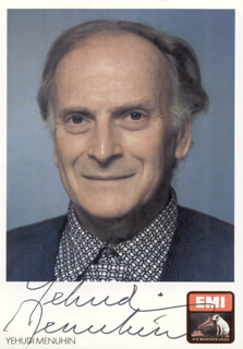 YEHUDI MENUHIN - AUTOGRAPHED SIGNED PHOTOGRAPH