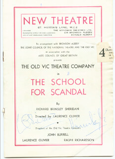 SCHOOL FOR SCANDAL PLAY CAST - PROGRAM SIGNED CO-SIGNED BY: VIVIEN LEIGH, LAURENCE OLIVIER