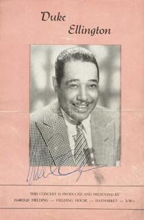 DUKE ELLINGTON - PROGRAM SIGNED CIRCA 1948