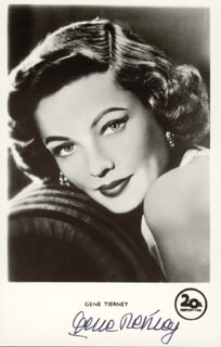 GENE TIERNEY - PICTURE POST CARD SIGNED
