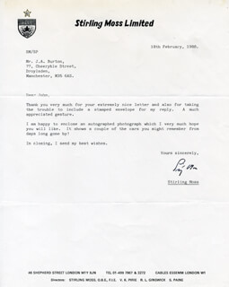SIR STIRLING C. MOSS - TYPED LETTER SIGNED 02/18/1988