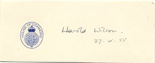 PRIME MINISTER HAROLD WILSON (GREAT BRITAIN) - AUTOGRAPH 06/27/1955