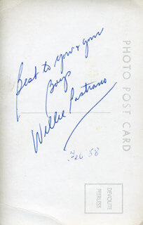 WILLIE PASTRANO - PICTURE POST CARD SIGNED CIRCA 1958