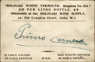 PRIMO CARNERA - BUSINESS CARD SIGNED