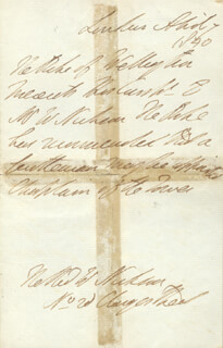DUKE (ARTHUR WELLESLEY) OF WELLINGTON (GREAT BRITIAN) - THIRD PERSON AUTOGRAPH LETTER 04/07/1840
