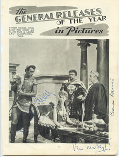 CAESAR AND CLEOPATRA MOVIE CAST - MAGAZINE PHOTOGRAPH SIGNED CO-SIGNED BY: VIVIEN LEIGH, CLAUDE RAINS, BASIL SYDNEY