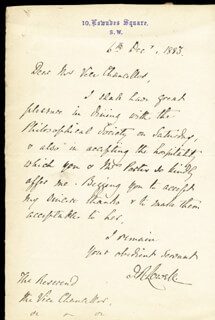 JAMES R. LOWELL - AUTOGRAPH LETTER SIGNED 12/06/1883