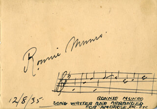 RONNIE MUNRO - AUTOGRAPH MUSICAL QUOTATION SIGNED 12/08/1935