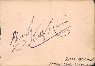 BILLY MERRIN - AUTOGRAPH SENTIMENT SIGNED CO-SIGNED BY: PAT HYDE