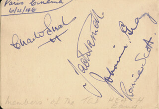 TED HEATH BAND - AUTOGRAPH CIRCA 1946 CO-SIGNED BY: JACK PARNELL, RONNIE SCOTT, TED HEATH BAND (JOHNNIE GRAY), CHARLIE EUAL