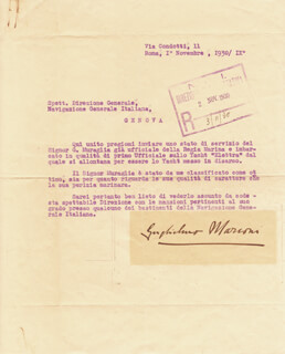 Autographs: GUGLIELMO M. MARCONI - TYPED LETTER SIGNED 11/01/1930