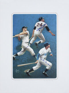 MICKEY MANTLE - PRINTED ART SIGNED IN INK CIRCA 1989 CO-SIGNED BY: RUDY GARCIA, WILLIE SAY HEY KID MAYS, DUKE SNIDER