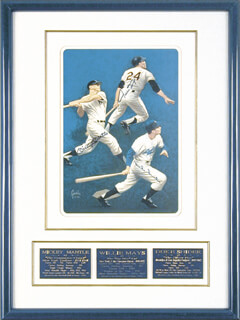 MICKEY MANTLE - PRINTED ART SIGNED IN INK CIRCA 1989 CO-SIGNED BY: WILLIE SAY HEY KID MAYS, DUKE SNIDER