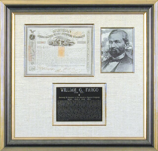 Autographs: AMERICAN MERCHANTS UNION EXPRESS CO. - STOCK CERTIFICATE SIGNED 09/30/1869 CO-SIGNED BY: WILLIAM G. FARGO, J. N. KNAPP, E. P. ROSS