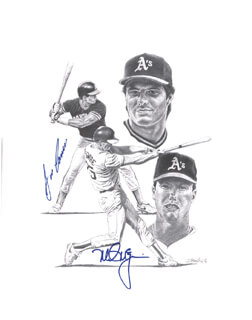 Autographs: MARK McGWIRE - PRINTED ART SIGNED IN INK CO-SIGNED BY: JOSE CANSECO