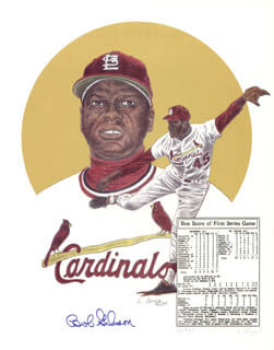 BOB GIBSON - PRINTED ART SIGNED IN INK CO-SIGNED BY: L. CARYN