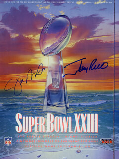 JOE MONTANA - SUPER BOWL PROGRAM SIGNED CO-SIGNED BY: JERRY RICE