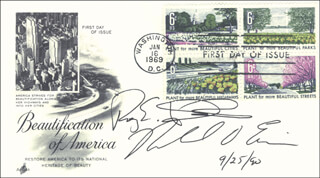ROY E. DISNEY - FIRST DAY COVER SIGNED 09/25/1990 CO-SIGNED BY: MICHAEL D. EISNER