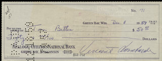 VINCE LOMBARDI - AUTOGRAPHED SIGNED CHECK 12/11/1959 CO-SIGNED BY: TOM BETTIS