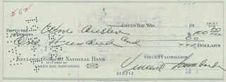 VINCE LOMBARDI - AUTOGRAPHED SIGNED CHECK CO-SIGNED BY: BILL AUSTIN