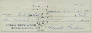 VINCE LOMBARDI - AUTOGRAPHED SIGNED CHECK 09/05/1959 CO-SIGNED BY: BILL QUINLAN