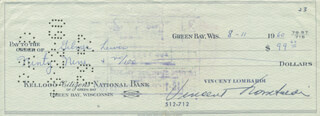 VINCE LOMBARDI - AUTOGRAPHED SIGNED CHECK 08/11/1960 CO-SIGNED BY: GILMER LEWIS