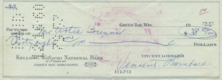 VINCE LOMBARDI - AUTOGRAPHED SIGNED CHECK CO-SIGNED BY: ARTIE FUNAIR