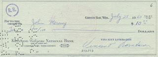 VINCE LOMBARDI - AUTOGRAPHED SIGNED CHECK 07/25/1960 CO-SIGNED BY: JOHN MERONEY