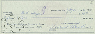 VINCE LOMBARDI - AUTOGRAPHED SIGNED CHECK 07/25/1960 CO-SIGNED BY: BILL SHIPPEN