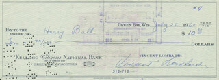 VINCE LOMBARDI - AUTOGRAPHED SIGNED CHECK 07/25/1960 CO-SIGNED BY: HARRY BALL