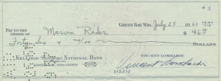 VINCE LOMBARDI - AUTOGRAPHED SIGNED CHECK 07/25/1960 CO-SIGNED BY: MARVIN RADER