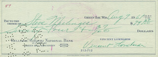 VINCE LOMBARDI - AUTOGRAPHED SIGNED CHECK 08/07/1961 CO-SIGNED BY: STEVE MEILINGER