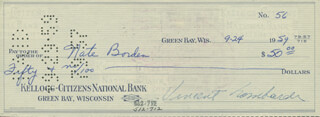 VINCE LOMBARDI - AUTOGRAPHED SIGNED CHECK 09/24/1959 CO-SIGNED BY: NATE BORDEN
