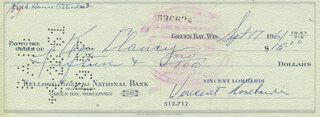 VINCE LOMBARDI - AUTOGRAPHED SIGNED CHECK 09/17/1961 CO-SIGNED BY: KEN CLANCY