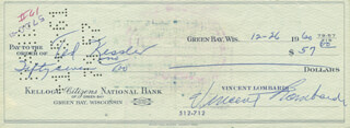 VINCE LOMBARDI - AUTOGRAPHED SIGNED CHECK 12/26/1960 CO-SIGNED BY: TED KESSLER