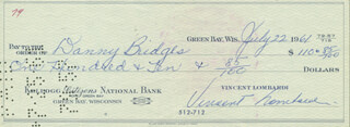 VINCE LOMBARDI - AUTOGRAPHED SIGNED CHECK 07/22/1961 CO-SIGNED BY: DANNY BRIDGES