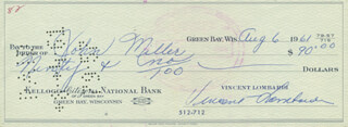VINCE LOMBARDI - AUTOGRAPHED SIGNED CHECK 08/06/1961 CO-SIGNED BY: JOHNNY MILLER