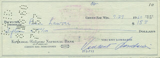 VINCE LOMBARDI - AUTOGRAPHED SIGNED CHECK 07/27/1960 CO-SIGNED BY: BEN LAUREN