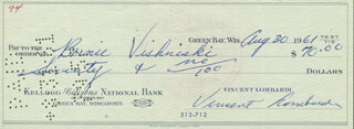 VINCE LOMBARDI - AUTOGRAPHED SIGNED CHECK 08/30/1961 CO-SIGNED BY: BERNIE VISHNESKI