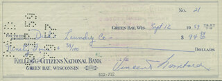VINCE LOMBARDI - AUTOGRAPHED SIGNED CHECK 09/12/1959
