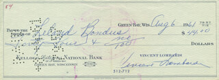 VINCE LOMBARDI - AUTOGRAPHED SIGNED CHECK 08/06/1961 CO-SIGNED BY: LELAND BONDHUS