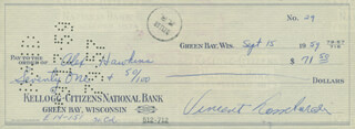 VINCE LOMBARDI - AUTOGRAPHED SIGNED CHECK 09/15/1959 CO-SIGNED BY: ALEX HAWKINS