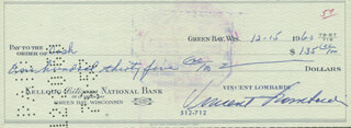 VINCE LOMBARDI - AUTOGRAPHED SIGNED CHECK 12/15/1960 CO-SIGNED BY: VERNE C. LEWELLEN