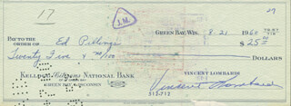VINCE LOMBARDI - AUTOGRAPHED SIGNED CHECK 08/21/1960 CO-SIGNED BY: ED PILLINGS