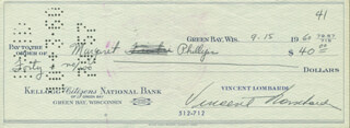 VINCE LOMBARDI - AUTOGRAPHED SIGNED CHECK 09/15/1960 CO-SIGNED BY: MARGARET PHILLIPS
