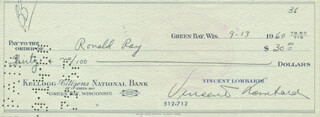 VINCE LOMBARDI - AUTOGRAPHED SIGNED CHECK 09/13/1960 CO-SIGNED BY: RONALD RAY