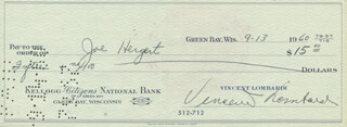 VINCE LOMBARDI - AUTOGRAPHED SIGNED CHECK 09/13/1960 CO-SIGNED BY: JOE HERGERT