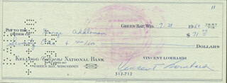 VINCE LOMBARDI - AUTOGRAPHED SIGNED CHECK 07/28/1960 CO-SIGNED BY: GEORGE RUSTY ADDLEMAN